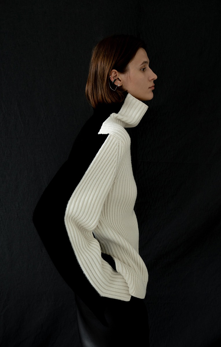Color-block Turtle neck Sweater